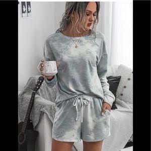 Gray Tie Dye Lounge Shorts